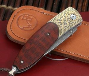 William Henry 威廉亨利B05 Buchanan Damascus and Gold Folding Knife 镶24K黄金 (全球限量50支)